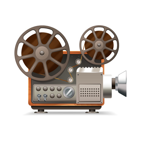 film projector: Realistic professional film projector profile isolated on white background vector illustration Illustration