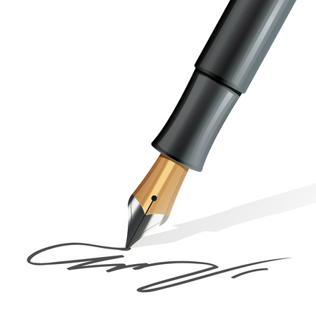 writing equipment: Closeup on fountain pen writing a signature realistic vector illustration