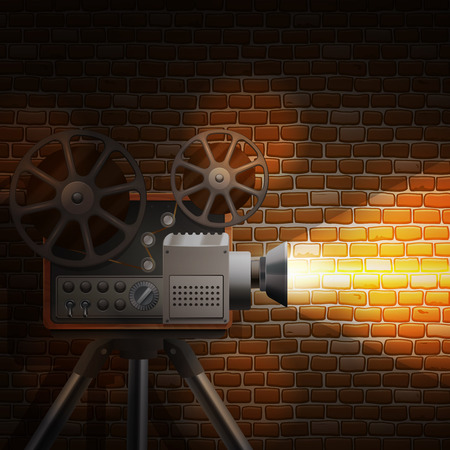 cinematograph: Retro film wallpaper with realistic projector and spotlight on brick wall background vector illustration