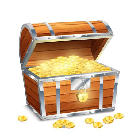 pirata: Realista viejo cofre del tesoro pirata estilo con monedas de oro aisladas sobre fondo blanco ilustraci�n vectorial