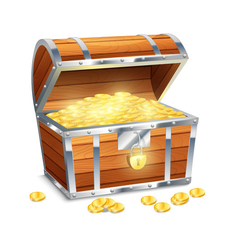 old coins: Realistico vecchia cassapanca stile pirata tesoro con monete d'oro isolato su sfondo bianco illustrazione vettoriale