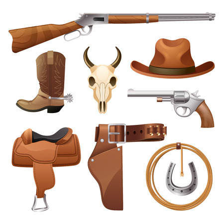 ropes: Cowboy elements set with saddle hat horseshoe skull isolated vector illustration