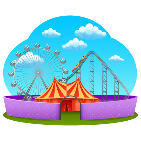 rollercoaster: Amusement part concept with rollercoaster ferris wheel and marquee tent vector illustration