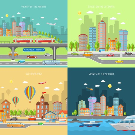 suburban house: City transport design concept set with urban and suburban house buildings flat icons isolated vector illustration