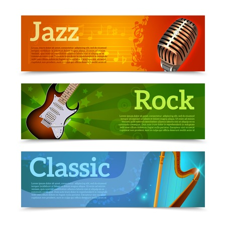 Music festival horizontal banners set with jazz rock classic instruments isolated vector illustration Vector