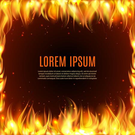 devils: Burning fire flame frame on the black background with text in center vector illustration. Illustration