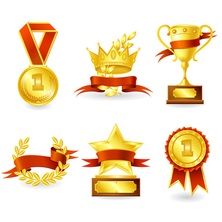 Golden trophy and prize emblem set of shield star medal and wreath isolated vector illustration.