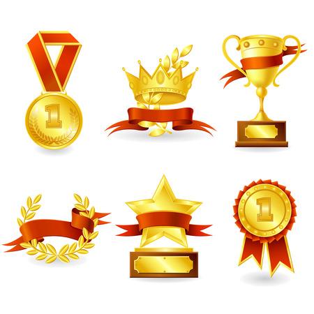 reconocimiento: Trofeo de oro y el premio conjunto emblema de la medalla de estrella escudo y aislado ofrenda floral ilustraci�n vectorial. Vectores