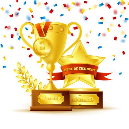 trofeo: Taza del ganador con la medalla de oro y una estrella con la cinta en el fondo blanco ilustración vectorial