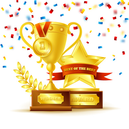 winner: Winner cup with gold medal and star with ribbon on the white background vector illustration