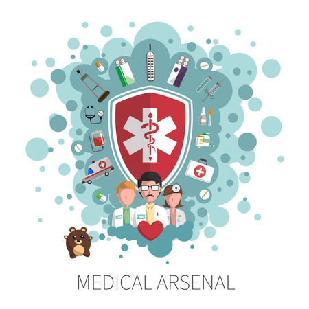 arsenal: Medicine and healthcare protection services colorful arsenal concept vector illustration Illustration