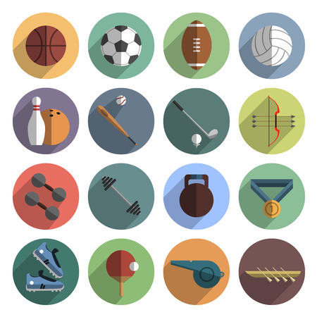 sport balls: Outdoor team sport symbols and weightlifting icons flat round set with slant shadow abstract vector isolated illustration