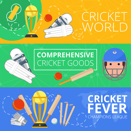 cricket game: Champions league cricket world goods symbols flat banners set with club field equipment abstract isolated vector illustration Illustration