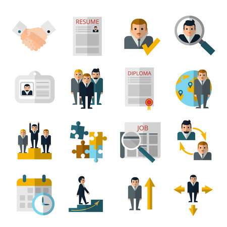 personnel: Human resources personnel recruitment strategy flat icons set with resume and diploma abstract shadow isolated vector illustration