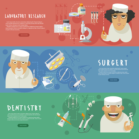 surgery concept: Three horizontal medical care banners with laboratory research surgery and dentistry infographic elements flat abstract vector illustration Illustration