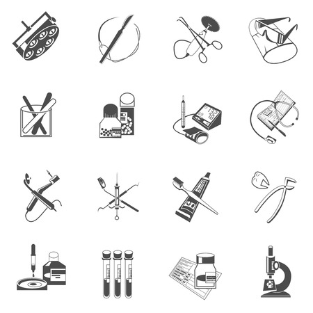 eyewear: Medical dental instruments and accessories black icons set with surgery scalpel and forceps abstract isolated vector illustration Illustration