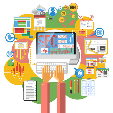 Seo の概念コンピューター検索エンジン最適化コーディング ポスター印刷サイト地図インフォ グラフィックの要素抽象ベクトル イラスト