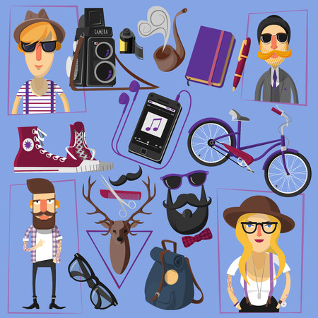 fake: Casually and formally dressed hipster people in hats and fake mustache with accessories poster abstract vector illustration