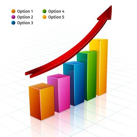 Gráfico de barras de negocios con la flecha de crecimiento firmar ilustración vectorial 3d