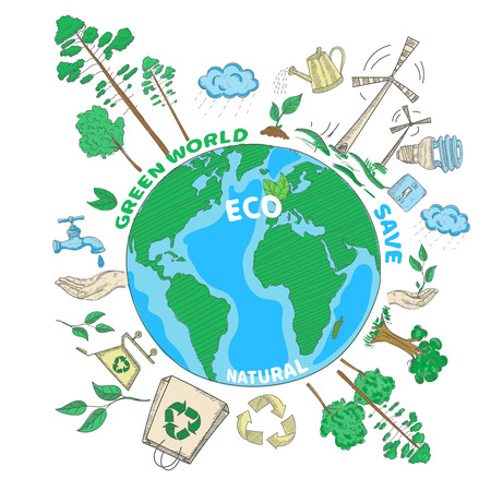 disposal: Doodle green world ecology colored concept with globe and eco decorative icons set vector illustration Illustration