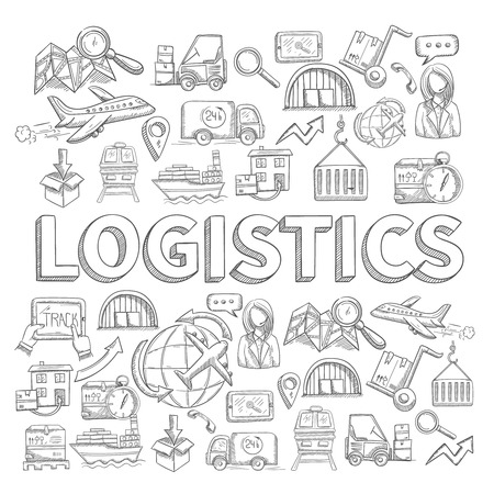 Logistic sketch concept with transportation and shipping commerce decorative icons set vector illustration Illustration