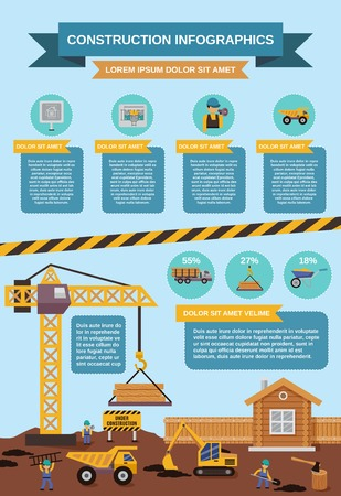 Construction infographics set with trucks excavator and building machinery vector illustration