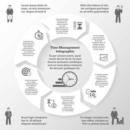 project: Time management infographics with business efficiency and office work management symbols vector illustration