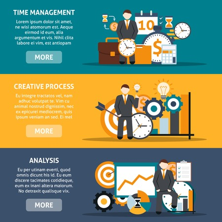 time line: Time management horizontal banners set with creative process and analysis elements isolated vector illustration