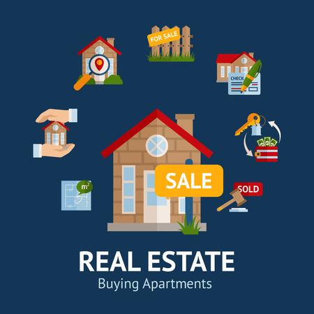 bienes raices: Concepto de bienes ra�ces con la casa para la ilustraci�n venta y alquiler s�mbolos vector