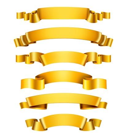 oro: Realista 3d brillantes cintas felicitación decorativos de oro fijaron aislado ilustración vectorial Vectores