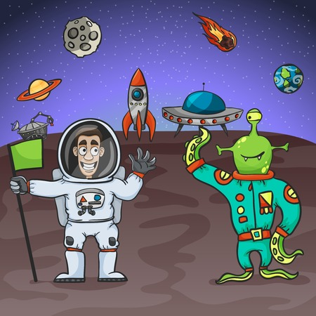 alien: Astronaut and alien friendly meeting with extraterrestrial background vector illustration Illustration