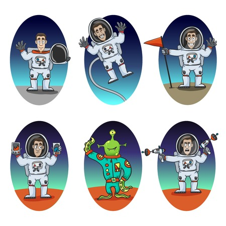 zero gravity: Astronaut in space suit and alien emotions cartoon characters set isolated vector illustration