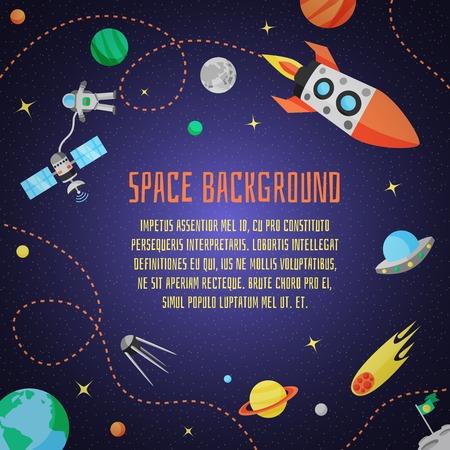 Space cartoon achtergrond met raketruimteschip sterren en planeten vector illustratie