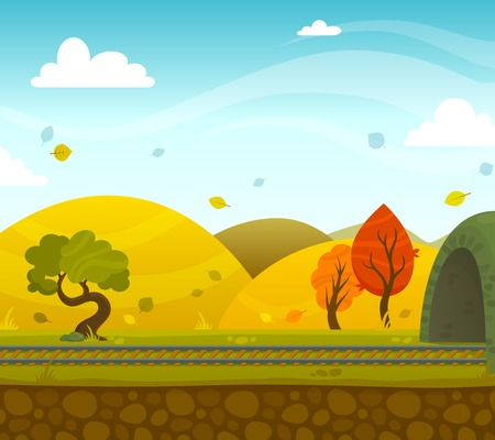 roadway: Autumn railway 2d game landscape with roadway and hills on background flat vector illustration