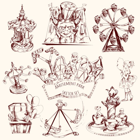theme park: Amusement park carnival attractions sketch decorative icons set isolated vector illustration