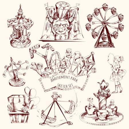 amusement park ride: Amusement park carnival attractions sketch decorative icons set isolated vector illustration