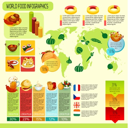 International cuisine infographics with world map food symbols and charts vector illustration Vector