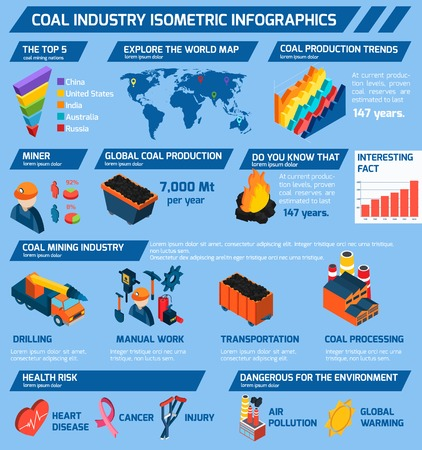 Coal industry isometric infographics set with minerals extraction symbols and charts vector illustration Vector