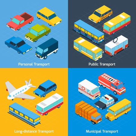 Transport design concept set with public personal long-distance and municipal isometric icons set isolated vector illustration Vector