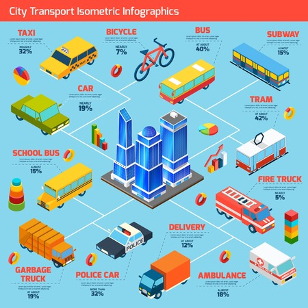 Transport isometric infographics set with cars and city public vehicles symbols vector illustration Illustration