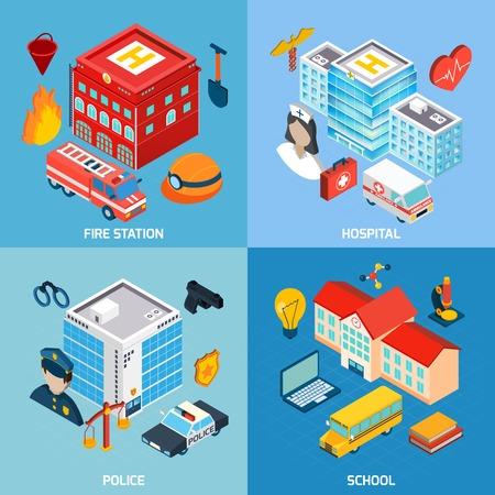 incendio casa: Edificios municipales concepto de diseño conjunto con la policía del hospital estación de bomberos y los iconos de la escuela isométrica aislado ilustración vectorial