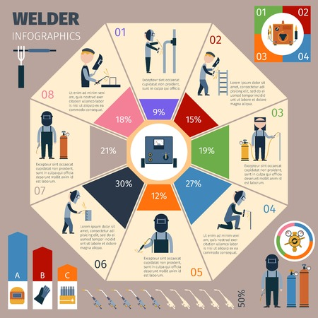 Welder infographics set with welding and workman symbols and charts vector illustration Illustration