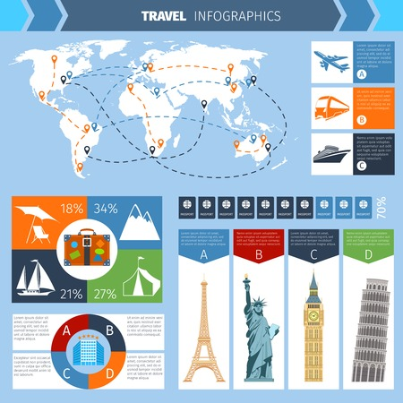 train ticket: Travel infographic set with world landmarks map and charts vector illustration Illustration