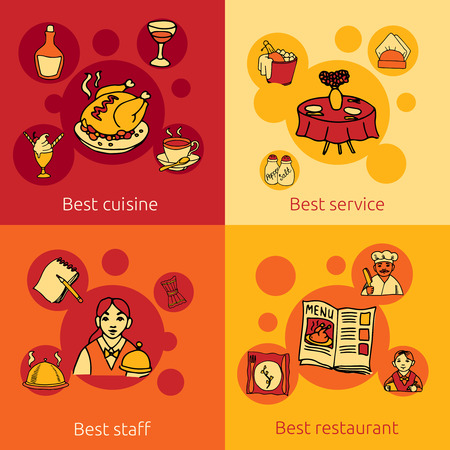 restaurant staff: Best restaurant service concept 4 flat icons composition design with staff cuisine and water abstract vector illustration