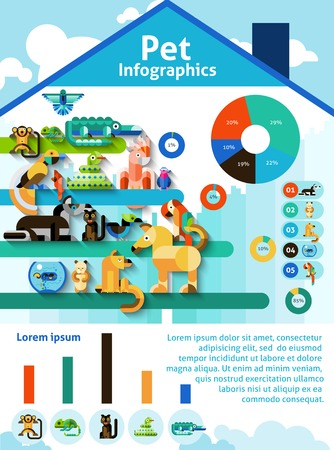 domestic animal: Pet infographics set with domestic animals reptiles and birds and charts vector illustration Illustration
