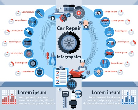 auto: Car repair infographics set with auto mechanic symbols and charts vector illustration