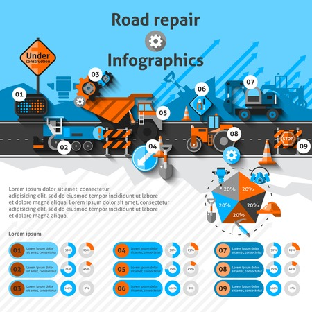machine: Road repair infographics set with construction machines and charts vector illustration Illustration