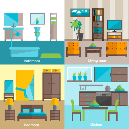 Interior design for bathroom living room and kitchen furniture 4 flat icons composition  abstract isolated vector illustration