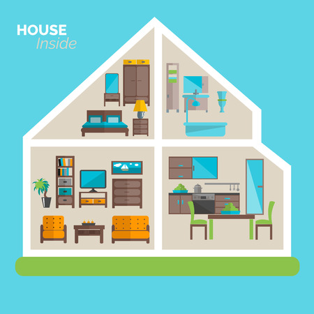 inside of: House inside interior design ideas poster for sleeping sitting rooms and kitchen furniture flat abstract vector illustration