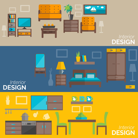 furnishing: Home interior design for kitchen bed and sitting rooms furnishing flat banners set abstract isolated vector illustration
